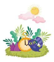 Wunderland, Katze und Uhr Laub Natur Sonne Wolken Cartoon vektor