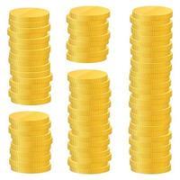goldene Münzen Vektor-Design-Illustration lokalisiert auf weißem Hintergrund
