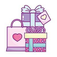 Glücklicher Valentinstag, Geschenkboxen und Einkaufstasche Liebesfeier