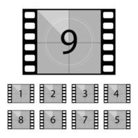 Film Countdown Vektor Design Illustration isoliert auf weißem Hintergrund