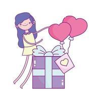 glad Alla hjärtans dag, flicka med presentask och ballonger formade hjärtan kärlek