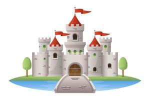 mittelalterliche Burgvektorentwurfsillustration lokalisiert auf weißem Hintergrund vektor