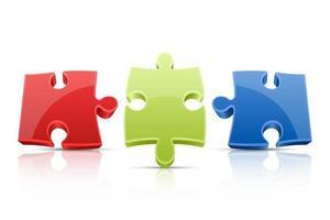 Puzzle-Vektor-Design-Illustration lokalisiert auf weißem Hintergrund