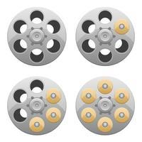 Revolverzylinder-Vektorentwurfsillustration lokalisiert auf weißem Hintergrund vektor