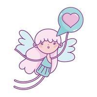 glad alla hjärtans dag, cupid med kärlek hjärta pratbubbla vektor