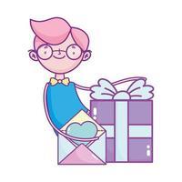 Glücklicher Valentinstag, Junge mit Geschenkbox und Briefliebe romantisch