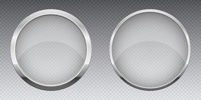 transaprent Glasfahne mit metallischer Rahmenvektorentwurfsillustration lokalisiert auf Hintergrund vektor