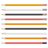Graphitstifte Vektor-Design-Illustration lokalisiert auf weißem Hintergrund