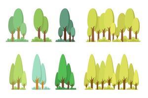träd set vektor design illustration isolerad på vit bakgrund