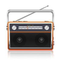 tragbare Vintage Radio Vektor Design Illustration lokalisiert auf weißem Hintergrund