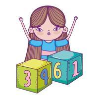 glücklicher Kindertag, kleines Mädchen, das mit Würfelkarikatur spielt