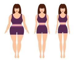 Gewichtsverlust Frau Vektor-Design-Illustration lokalisiert auf weißem Hintergrund