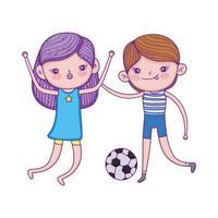 glücklicher Kindertag, Junge und Mädchen, die mit Fußballballkarikatur spielen