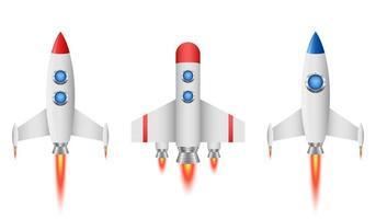 Raketenraumschiffvektorentwurfsillustration lokalisiert auf weißem Hintergrund