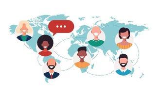 Menschen auf der Weltkarte Chat Blasen globales Kommunikationskonzept vektor