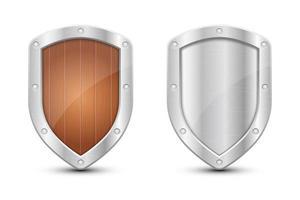 Schutzmetallic Schild Vektor Design Illustration auf Hintergrund isoliert