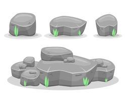 Boulder Steine Vektor-Design-Illustration lokalisiert auf weißem Hintergrund. Spiel-Assets vektor