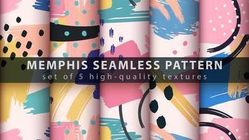 nahtloser Musterhintergrundsatz des Memphis-Stils