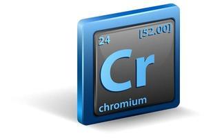 Chrom chemisches Element. chemisches Symbol mit Ordnungszahl und Atommasse.