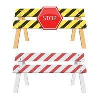 Stop-Barriere-Vektor-Design-Illustration lokalisiert auf weißem Hintergrund