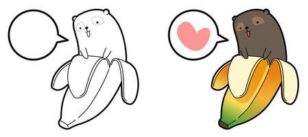 niedlicher Bär im Bananenkarikatur leicht Malvorlagen für Kinder vektor