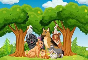 grupp husdjur i parkplatsen vektor