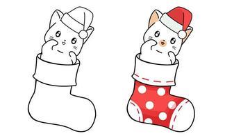 söt katt i strumpatecknet lätt målarbok för barn vektor