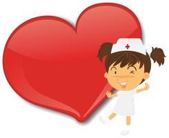 leeres großes Herzfahne mit niedlicher Krankenschwesterkarikaturfigur vektor