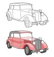 vintage bil tecknad lätt målarbok för barn vektor