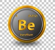 beryllium kemiskt element. kemisk symbol med atomnummer och atommassa.