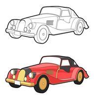 vintage bil tecknad målarbok för barn vektor