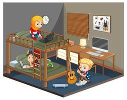 Kinder ist die Schlafzimmerszene auf weißem Hintergrund vektor