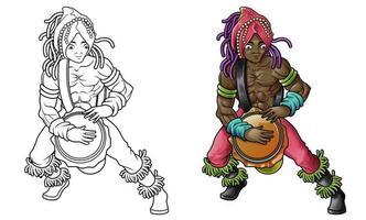Percussion Man Cartoon Malvorlagen für Kinder vektor