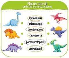 Wörter mit den richtigen Bildern Dinosaurier abgleichen vektor