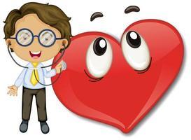 Happy Heart Emoticon mit einer Doktor-Zeichentrickfigur vektor