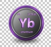 ytterbium kemiskt element. kemisk symbol med atomnummer och atommassa.