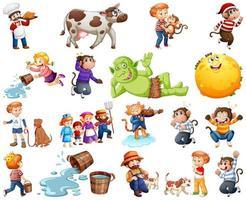 uppsättning av olika barnkammar karaktär isolerad på vit bakgrund