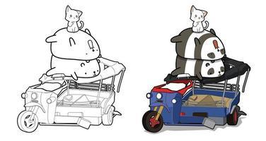 söta pandor och katt med trehjulingstecknad målarbok för barn vektor