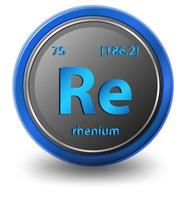 renium kemiskt grundämne. kemisk symbol med atomnummer och atommassa.