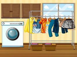 Kleidung hängt an einer Wäscheleine mit Waschmaschine in der Raumszene vektor