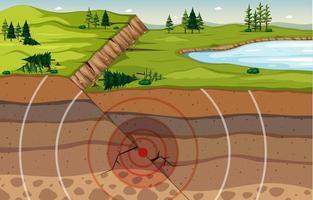 naturlandskap med markförsänkning och jordlager scen vektor