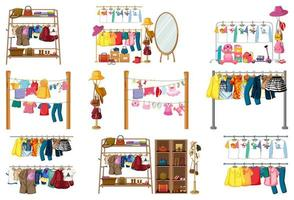 uppsättning kläder, accessoarer och garderob isolerad på vit bakgrund