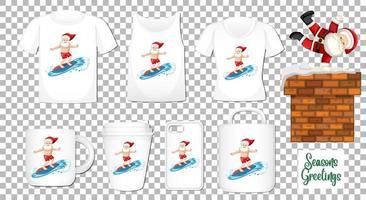 Santa Claus tanzende Zeichentrickfigur mit Satz verschiedener Kleidung und Zubehörprodukte auf transparentem Hintergrund vektor