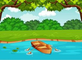 ein Boot im Fluss in der Waldszene vektor
