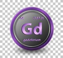 gadolinium kemiskt element. kemisk symbol med atomnummer och atommassa. vektor