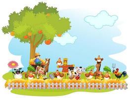 glada djur på gården