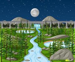Damm in der Naturlandschaft bei Nachtszene