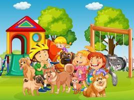 lekplats utomhus scen med många barn och deras husdjur
