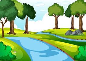 leere Parkszene mit vielen Bäumen und Fluss vektor