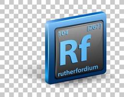 rutherfordium kemiskt element. kemisk symbol med atomnummer och atommassa.